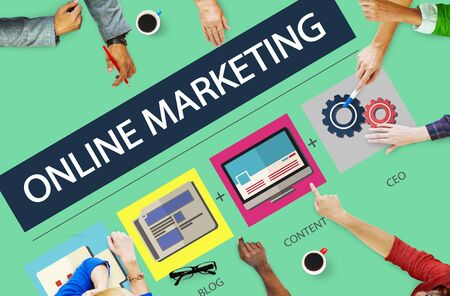 marketing online: Online Marketing Strategy Branding Commerce Advertising Concept Stock Photo