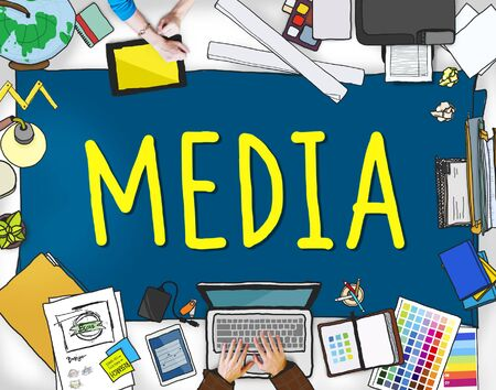 multimedia: Media Advertising Information Multimedia Sharing Concept Stock Photo