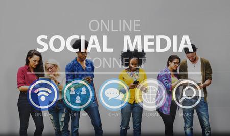 Online Media Social Networking connnect Internet Concept Banque d'images