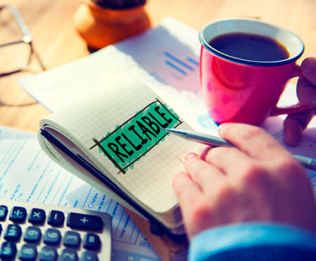 trustworthy: Reliable Integrity Efficiency Trust Trustworthy Concept Stock Photo