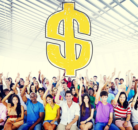Crowd with Dollar currency symbol