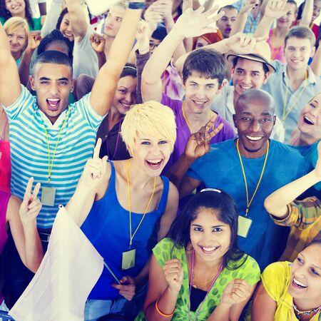 community: People Smiling Happiness Celebration Concert Event Excitement Concept