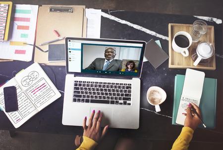 Conférence téléphonique chat vidéo Concept Communication Banque d'images