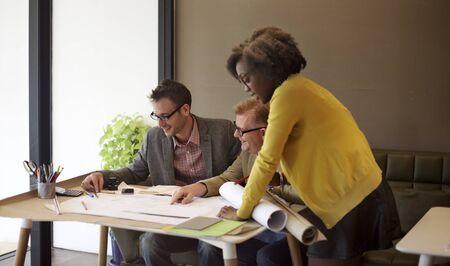 construction team: Interior Construction Team Meeting Brainstorming Concept