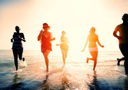 diverse women: Friendship Freedom Beach Summer Holiday Concept
