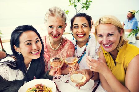 Diversity Friends Hanging out Party Dining COncept Imagens