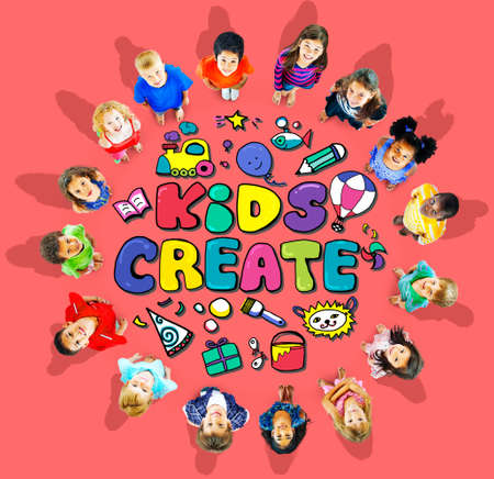 asian ethnicity: Kids Create Cretivity Design Ideas Colorful Concept Stock Photo