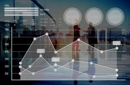 Gráfico de crecimiento de Finanzas del Mercado de Valores moneda Concepto Análisis Foto de archivo - 51974824