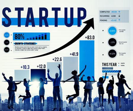 Cheerful business people with start up concept 스톡 콘텐츠