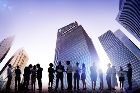 cityscape silhouette: Business People Meeting Conference Corporate Cityscape Concept