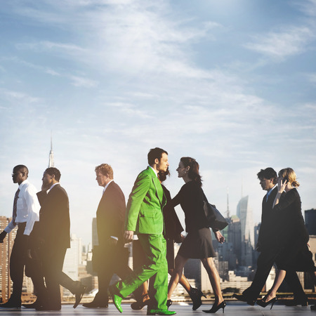contradiction: Business People Contrarian Opposite Concept