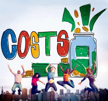 gente saltando: Los costos de capital Presupuesto Concepto Econ�mico de Inversiones Foto de archivo