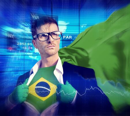 winning stock: Businessman Superhero Country Brazil Flag Culture Power Concept