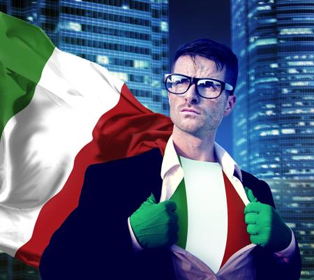 italian politics: Superhero Businessman Italian Cityscape Concept Stock Photo
