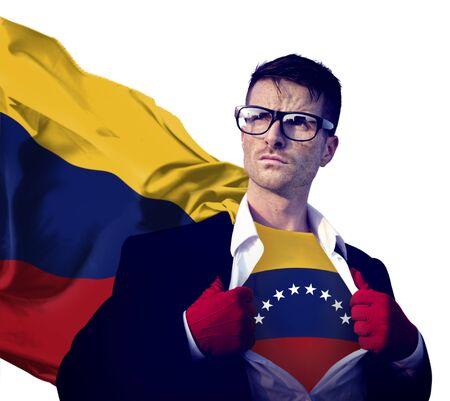 venezuela flag: Empresario Superhero Pa�s Venezuela Bandera Cultura Concepto de alimentaci�n