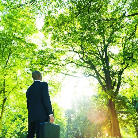 Green Businessman Thinking Inspiration Nature Concept Stok Fotoğraf - 52031856
