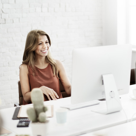 office lady: Businesswoman Working Connection Internet Concept Stock Photo