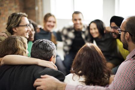 cerrar: Huddle equipo armonía Concepto Felicidad Unión