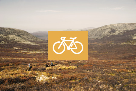 tranquil scene on urban scene: Bicycle Riding Bike Transportation Icon Concept