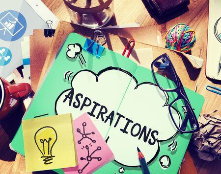 target thinking: Aspiration Expectation Inspiration Hope Concept