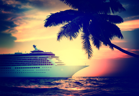 cruise: Yacht Cruise Ship Sea Ocean Tropical Scenic Concept Stock Photo