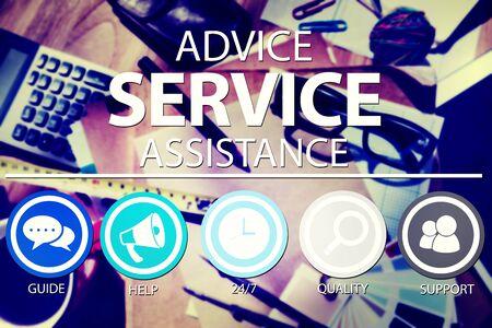 service desk: Advice Service Assistance Customer Care Support Concept Stock Photo