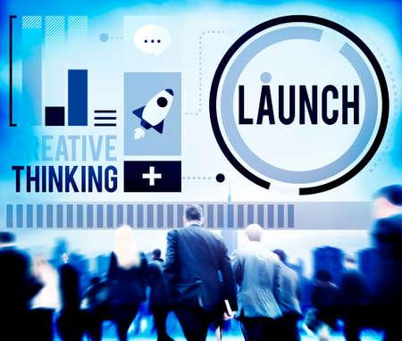 comenzar: Lanzar nuevos negocios Inauguraci�n Comienza Start Concept Foto de archivo