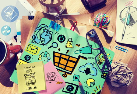 Online Marketing Strategy Branding Commerce Advertising Concept Standard-Bild