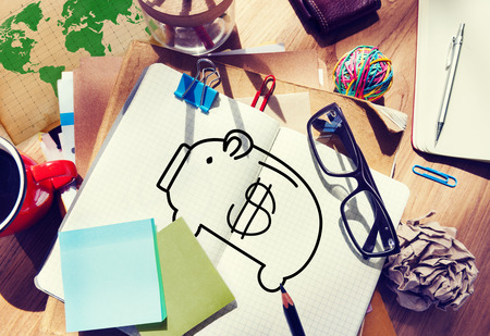 bank notes: Piggy Bank Saving Money Economize Profit Concept Stock Photo