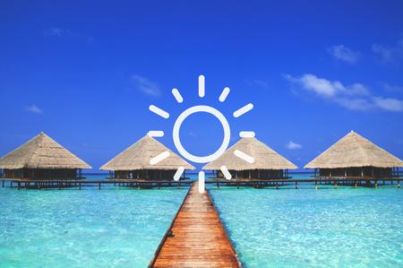 여름 일 바다 스카이 바다 열대 휴식의 날 개념 스톡 콘텐츠