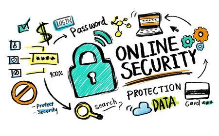 オンライン セキュリティの保護インターネット安全警備隊ロック コンセプト 写真素材