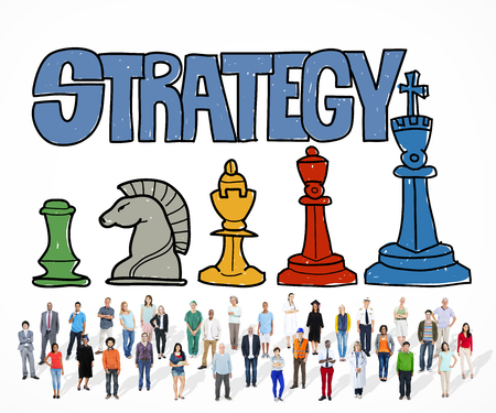 Large group of people with strategy concept Фото со стока