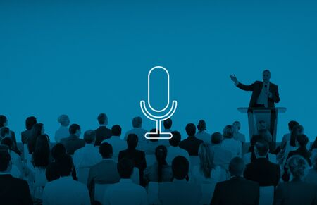 Microphone Announcement Mic Broadcast Recording Speech Concept Stock Photo