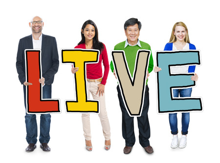 existent: Group of Diverse People Holding Live Stock Photo