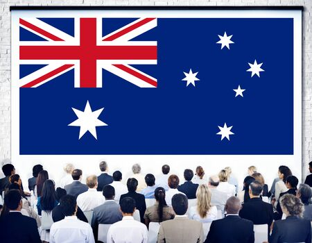 australian ethnicity: Australia Flag Country Nationality Liberty Concept Stock Photo