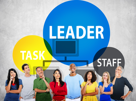 People thinking with leadership and organization concept Stock Photo