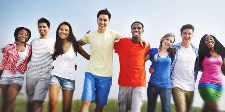 Group Friends Outdoors Diversed Cheerful Fun Concept Stock Photo