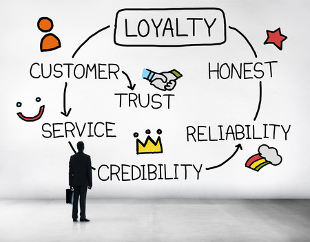 trust business: Loyalty Customer Service Trust Honest Reliability Concept Stock Photo