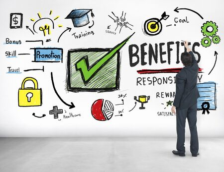 earning: Benefits Gain Profit Earning Income Businessman Ideas Concept Stock Photo