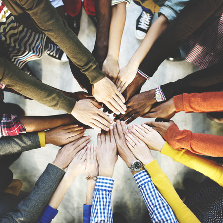 society: Group of Diverse Hands Together Joining Concept
