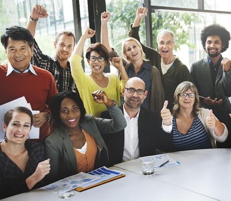 arm raised: Business Team Success Achievement Arm Raised Concept Stock Photo