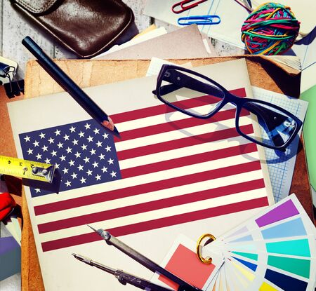 medium group of objects: American Flag Nationality Liberty Country Concept Stock Photo