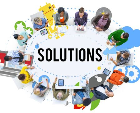breaking new ground: Solution Innovation Solving Progress Strategy Plan Concept Stock Photo
