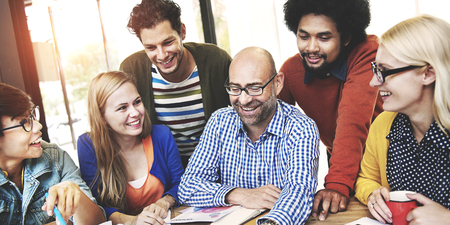 students talking: People Meeting Corporate Team Friendship Togetherness Concept