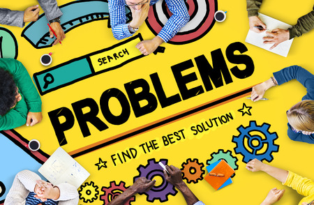 drawback: Problems Trouble Difficulty Failure Challenge Concept