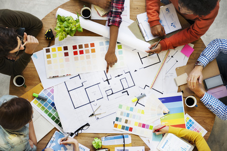 color swatch: Design Creativity Color Swatch Ideas Writing Working Concept Stock Photo
