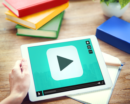 Play Button Audio Video Media Technology Concept Stock Photo