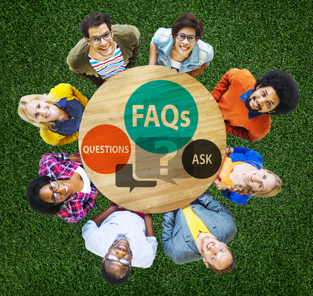 faqs: FAQs Frequently Asked Questions Solution Concept Stock Photo