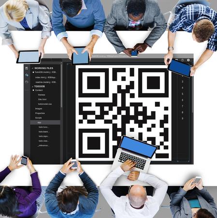 qr code: QR Code Encryption Interface Coding Concept