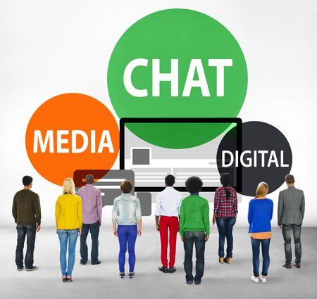 facing backwards: Chat Media Digital Chatting Communication Connect Concept